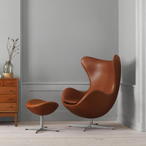 Scandinavian design armchair / fabric / leather / with footrest