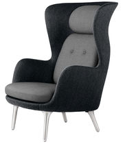 Contemporary armchair / fabric / leather / aluminium