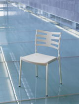 Contemporary chair / aluminum / commercial / stackable