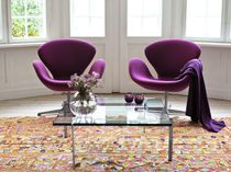 Scandinavian design armchair / swivel / star base / fabric