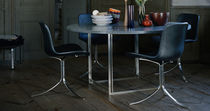 Contemporary table / marble / granite / stainless steel