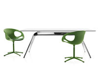 Contemporary table / aluminum / glass / ash