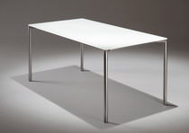 Minimalist design table / steel / laminate / glass