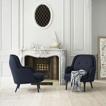 Contemporary armchair / fabric / aluminium / with footrest
