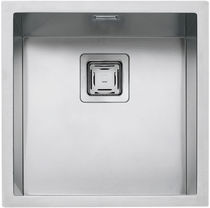 Single-bowl kitchen sink / stainless steel / square