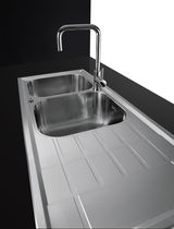 Stainless steel mixer tap / kitchen / 1-hole / swivel spout