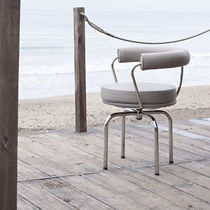 Contemporary chair / fabric / stainless steel / gray