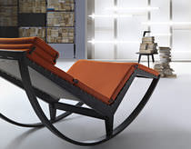 Contemporary chaise longue / fabric / leather / ash