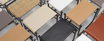 Contemporary stool / leather / steel / by Charlotte Perriand