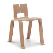 Contemporary chair / stackable / oak / stained wood