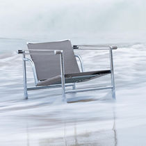 Contemporary armchair / fabric / stainless steel / waterproof