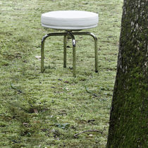Contemporary stool / fabric / stainless steel / swivel