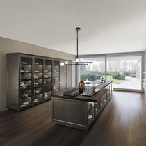 Contemporary kitchen / glass / metal / island