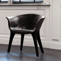 Contemporary chair / upholstered / with armrests / leather