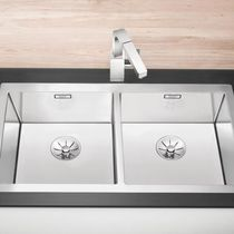 Double kitchen sink / stainless steel / deep