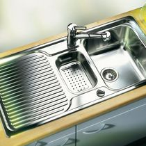 Double kitchen sink / stainless steel / with drainboard