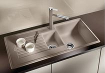 Double kitchen sink / composite / with drainboard