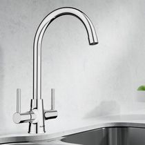 Free-standing double-handle mixer tap / chromed metal / bathroom / 1-hole
