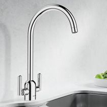Free-standing double-handle mixer tap / chromed metal / steel / kitchen