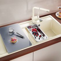 Single-bowl kitchen sink / ceramic / with drainboard