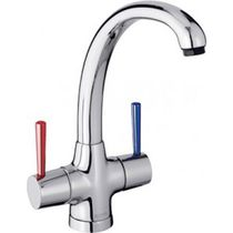 Free-standing double-handle mixer tap / chromed metal / kitchen / 1-hole