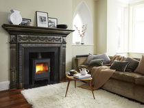 Wood heating stove / traditional / steel