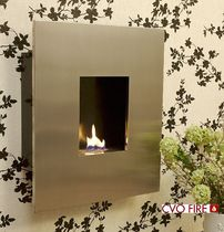 Gas fireplace / contemporary / closed / wall-mounted