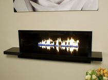 Gas fireplace / contemporary / open hearth / 2-sided