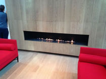 Gas fireplace / contemporary / open hearth / 3-sided