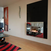Gas fireplace / contemporary / open hearth / built-in