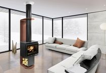 Wood heating stove / contemporary / metal / central