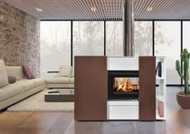 Wood heating stove / contemporary / metal / double-sided