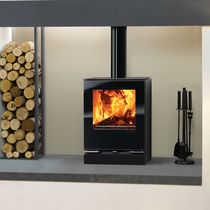 Wood heating stove / multi-fuel / contemporary / glass