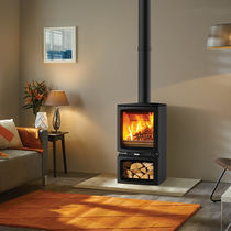 Wood heating stove / contemporary / glass