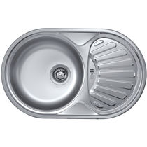 Single-bowl kitchen sink / stainless steel / round / with drainboard