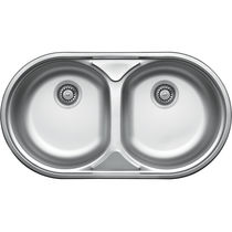 Double kitchen sink / stainless steel / round