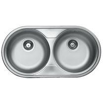 Double kitchen sink / stainless steel / round