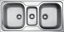 Triple-bowl kitchen sink / stainless steel