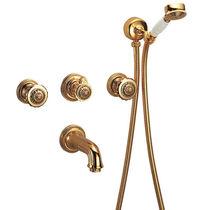 Double-handle bathtub mixer tap / wall-mounted / chromed metal / bathroom