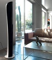 Contemporary light column / steel / halogen / LED