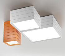 Contemporary ceiling light / square / aluminum / steel