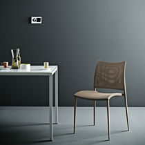 Contemporary chair / stackable / mesh / standard base