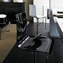 Bar chair / contemporary / acrylic / leather
