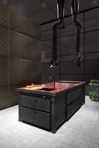 Contemporary kitchen / stainless steel / island