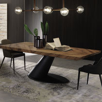 Contemporary dining table / wooden / steel / rectangular