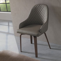 Contemporary chair / with armrests / upholstered / wooden