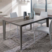 Contemporary dining table / wooden / glass / rectangular