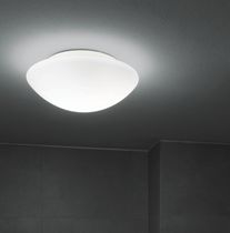 Contemporary ceiling light / round / polycarbonate / blown glass