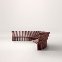 Garden bench / contemporary / wooden / with backrest