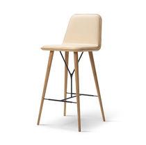 Scandinavian design bar chair / upholstered / oak / leather
